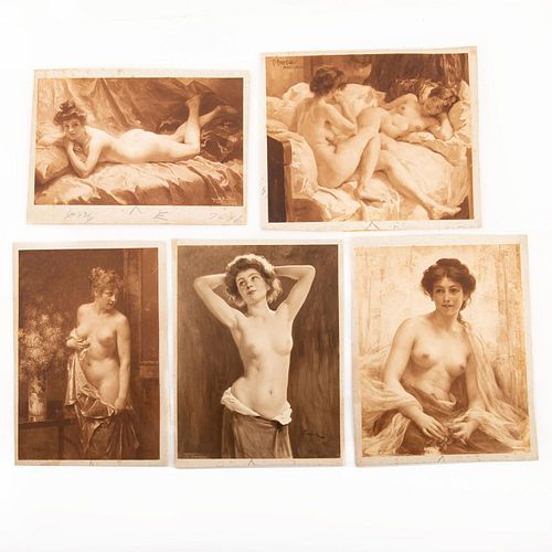 FIVE EARLY EROTICA PRINTS, NUDE AND SEMI-NUDE LADIES