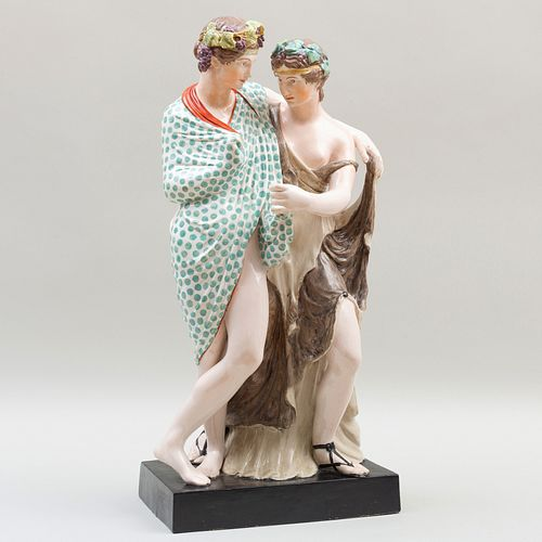 Large Staffordshire Pearlware Figure Group of Bacchus and Ariadne