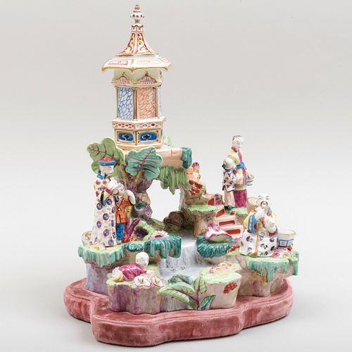 Continental Porcelain Chinoiserie Pagoda and Waterfall Figure Group