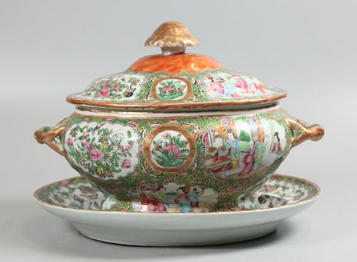 Chinese soup tureen w/ platter, possibly 19th c.