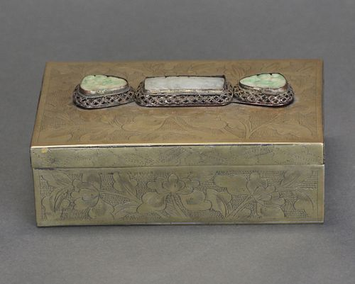 Chinese bronze box inlaid with jade, possibly 19th c.