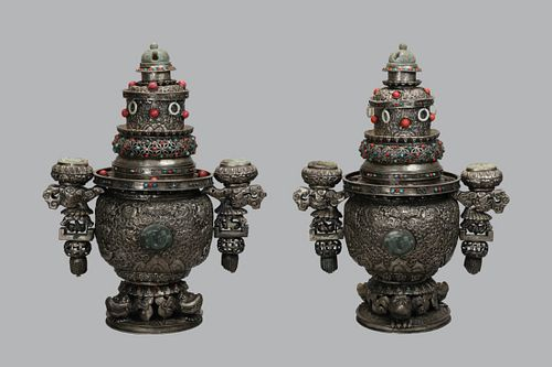 pair of Chinese Mongolian silver cover censers