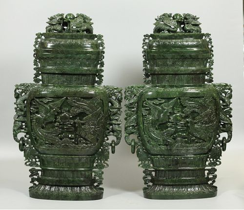 pair of Chinese spinach jade cover vases