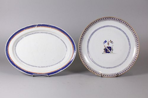 2 Chinese export plates/platters, possibly 18th/19th c.