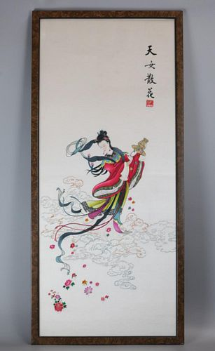 Chinese embroidery of a female immortal