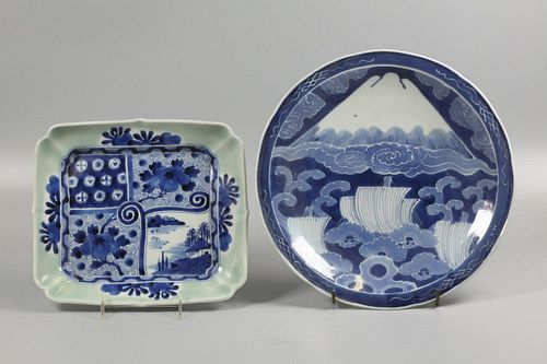 2 Japanese blue & white plates, possibly 19th c.