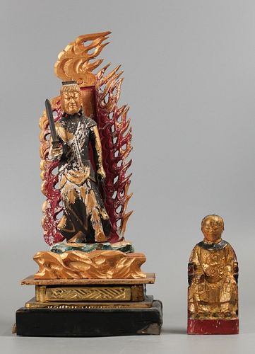 2 Chinese wood carvings, possibly 19th c.