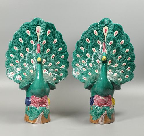 pair of Chinese multicolor porcelain peacocks