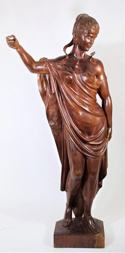 Large Wooden Carved Sculpture of Greek Goddess