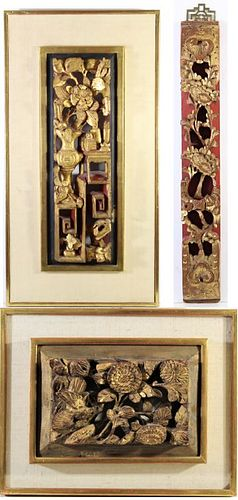 (3) Antique Chinese Gilt Carved Panels