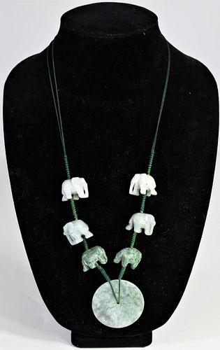 Chinese Stone Elephant Necklace w Pendant
