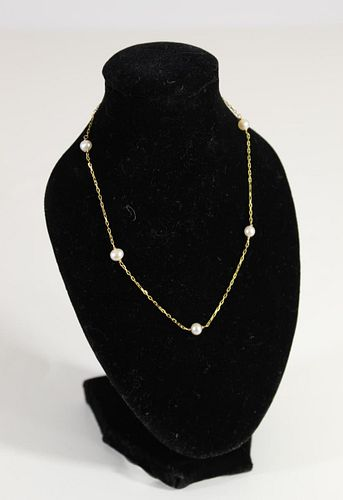 Italian 14k Yellow Gold & Pearl Anklet