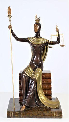 "Erte (1892-1990) Bronze Sculpture, ""Lady Justice"""