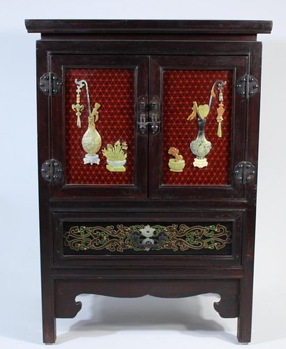 Chinese Wood Cabinet with Jade Carving