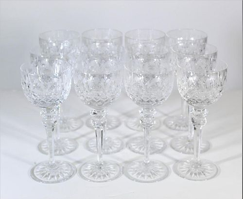(12) Etched Crystal Wine Glasses