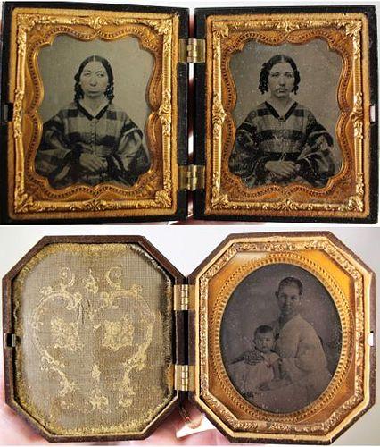 U.S Thermoplastic Union Cases w/ Ambrotypes 1850's