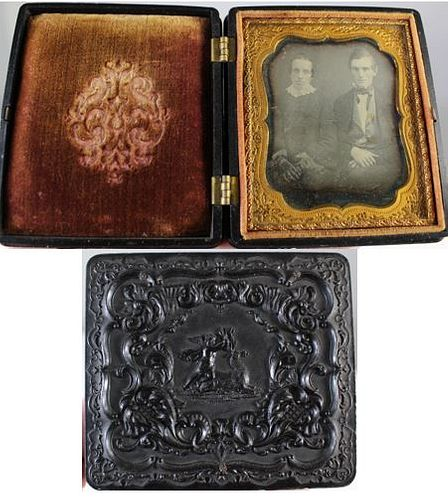 U.S. Thermoplastic Case w/ Cupid and Stag 1850's