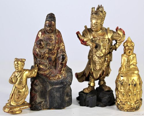 (4) Chinese Carved Giltwood Figures