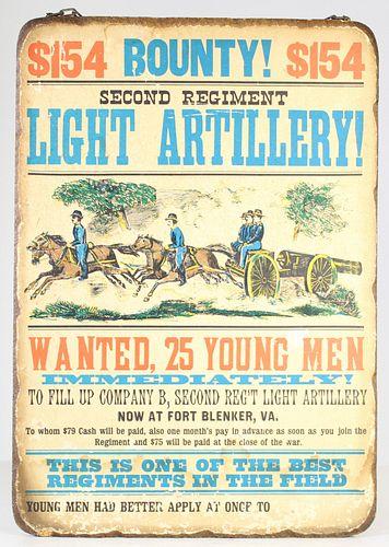Civil War Recruitment Announcement on Board