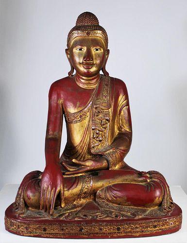 Indonesian Gold Leaf Seated Bhumisparsha Buddha