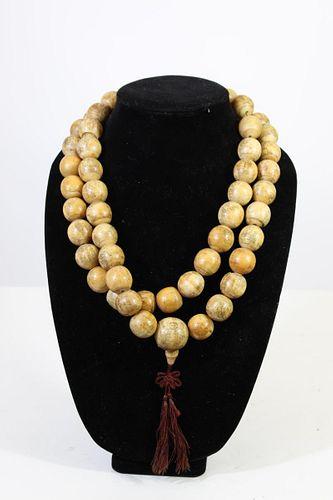 Chinese Poem Bead Necklace of Bone