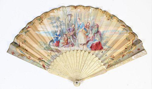 Handpainted French Ladies Fan