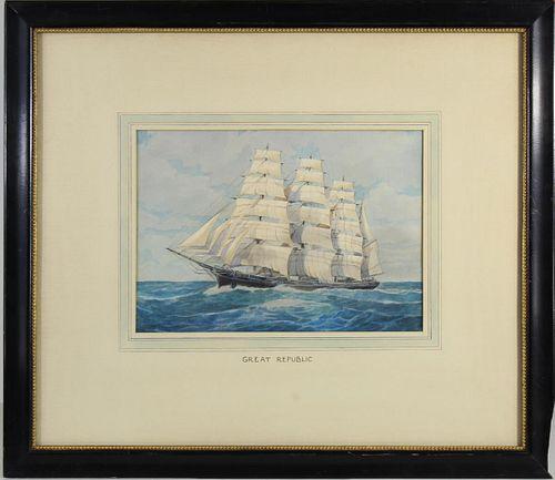 E. Wall (American 19th Century) Watercolor