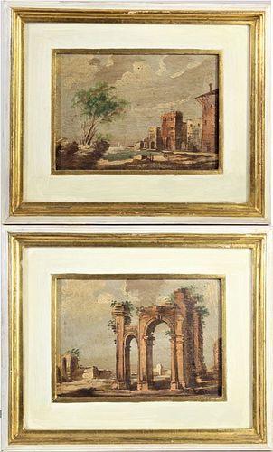 Pair of Italian Landscapes 20th C. O/C