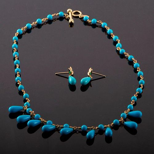 Tiffany & Co. turquoise & 18k necklace/earring set