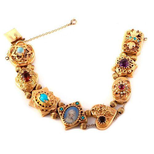 Stone-set and 14k Gold Slide Bracelet