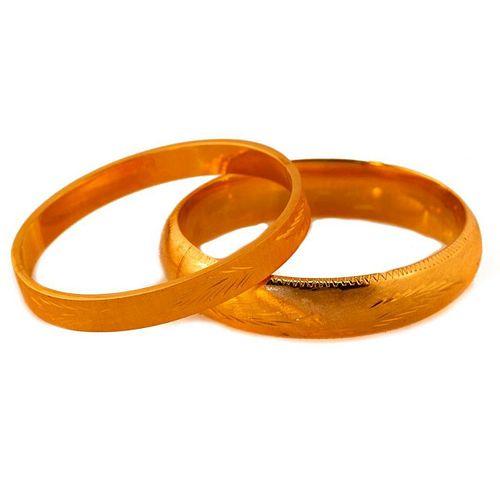 Two 14k Gold Bangle Bracelets