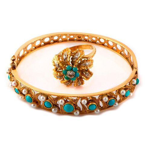 Seed Pearl, Turquoise & 18k Gold Bracelet & Ring