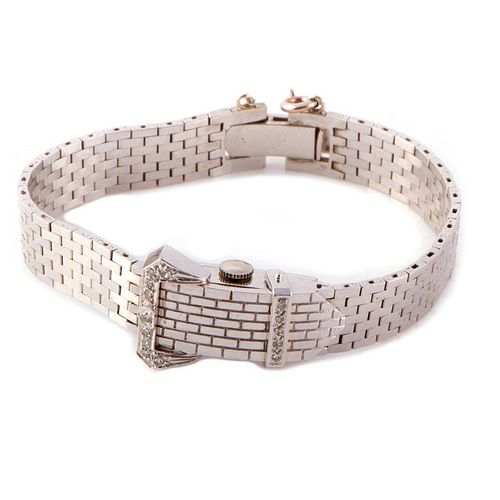 Diamond & 14k WG Buckle Style Covered Wristwatch