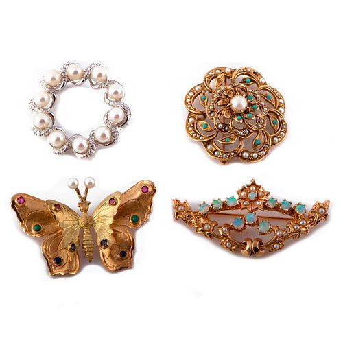 Collection of 14k white & yellow gold brooches