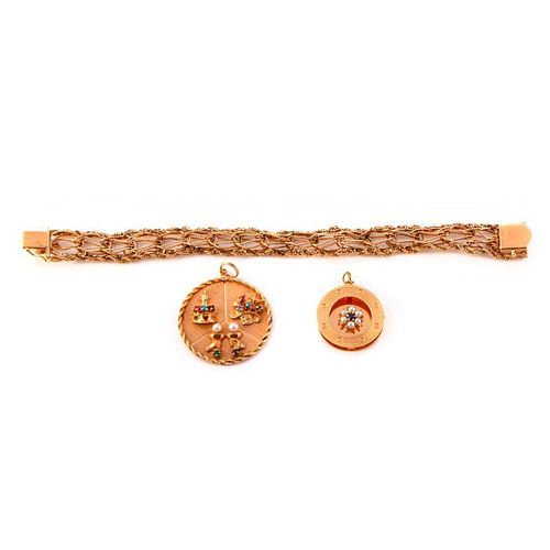 14k Gold Bracelet with 2 Loose Charms