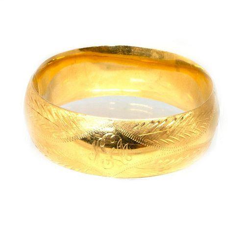 14k gold engraved bangle bracelet