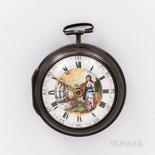 """Silver Pair-case Watch Marked """"Samson,"""""""