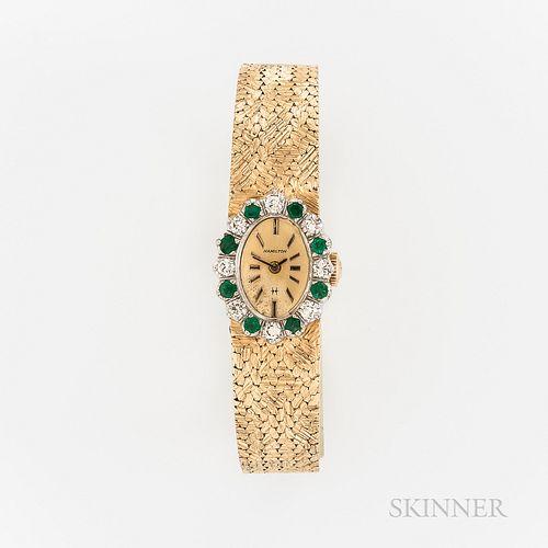 Hamilton 14kt Gold, Diamond, and Emerald Wristwatch