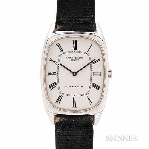 "Tiffany & Co. Signed Patek Philippe 18kt White Gold ""Ellipse"" Wristwatch"