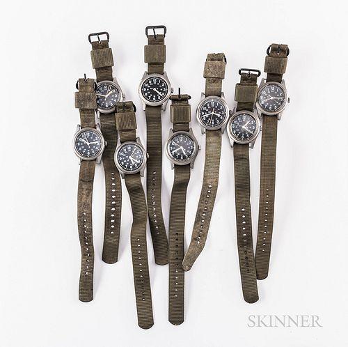 One Mil-Spec Hamilton MIL-W-46374A and Seven MIL-W-46374B Wristwatches