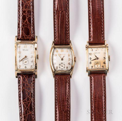 Three 1950s Tank-style Manual-wind Wristwatches