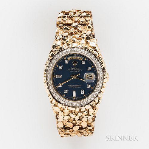 Rolex 18kt Gold Day-Date with 14kt Gold Nugget Bracelet