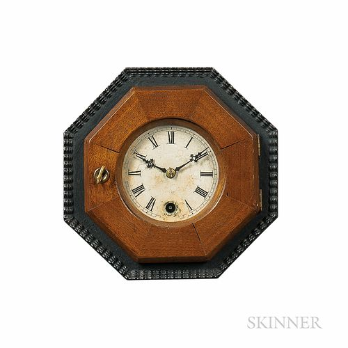 Miniature Octagonal Cast Iron and Mahogany Connecticut Wall Clock