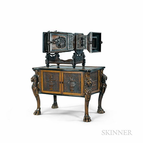 Carlo Ponti Highly Carved and Ebonized Walnut Megalethoscope and Table