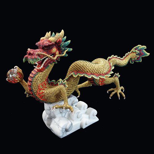 Swarovski Crystal Golden Dragon Jinlong