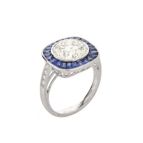 Diamond, Sapphire and Platinum Ring