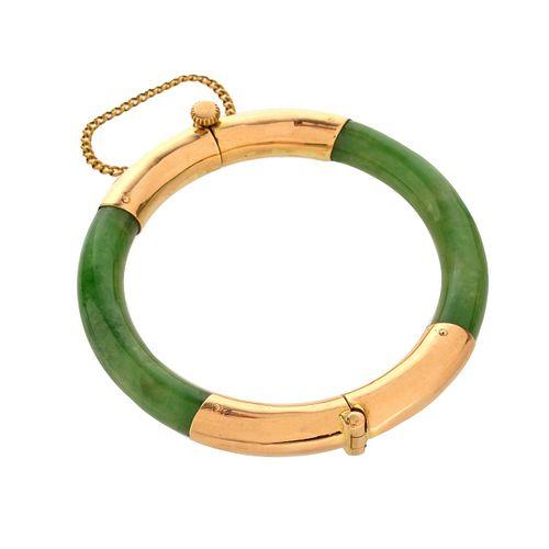 GIA Jade and 18K Bangle Bracelet