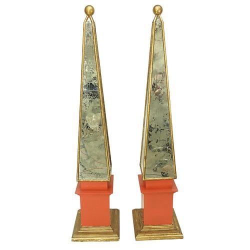 Palace Size Mirrored Obelisks
