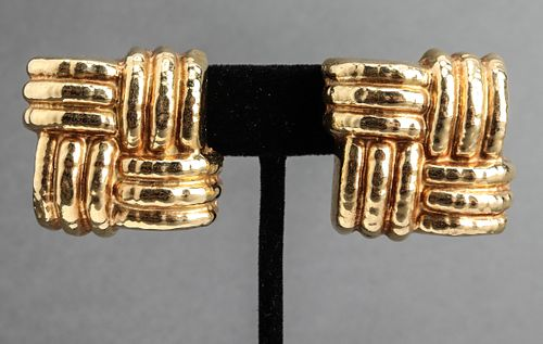 Italian 18K Yellow Gold Woven Square Earrings