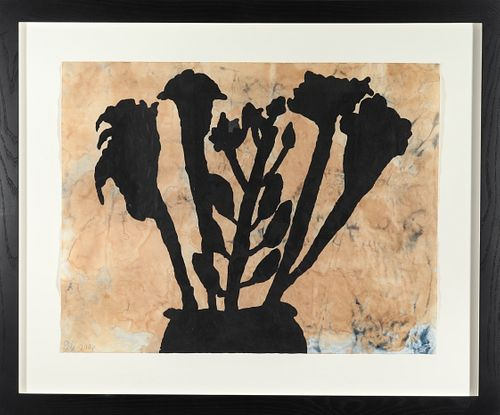 Donald Baechler Gouache & Tea on Paper